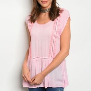 Embroidered Detail Pink Tunic Top Cap Sleeve NWT
